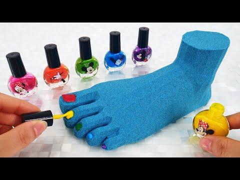 Satisfying Video l Kinetic Sand Nail Polish Foot Cutting ASMR #7 Rainbow ToyTocToc