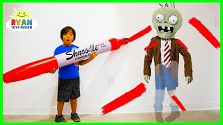 Ryan Pretend Play Doddle Hide and Seek with Plants vs Zombies, Dinosaurs and Incredibles 2!!!