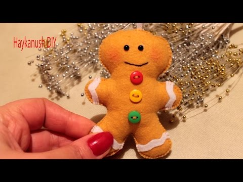 DIY HOW TO MAKE A GINGERBREAD MAN COOKIE FELT ORNAMENT