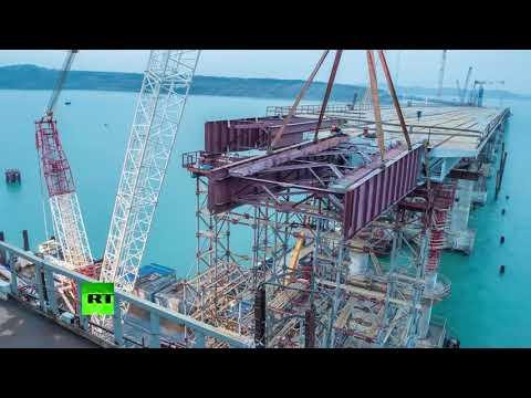 Таймлапс-видео: сборка пролётов автодорожной части Крымского моста
