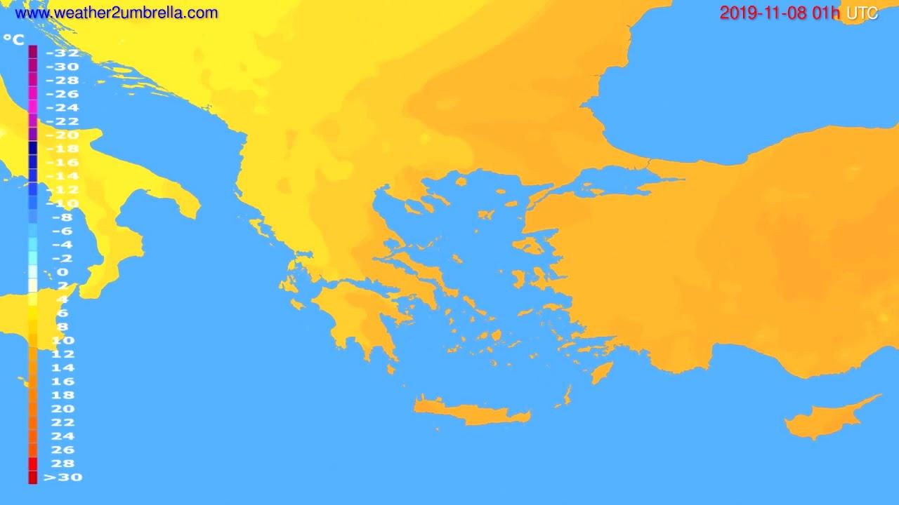 Temperature forecast Greece // modelrun: 12h UTC 2019-11-06