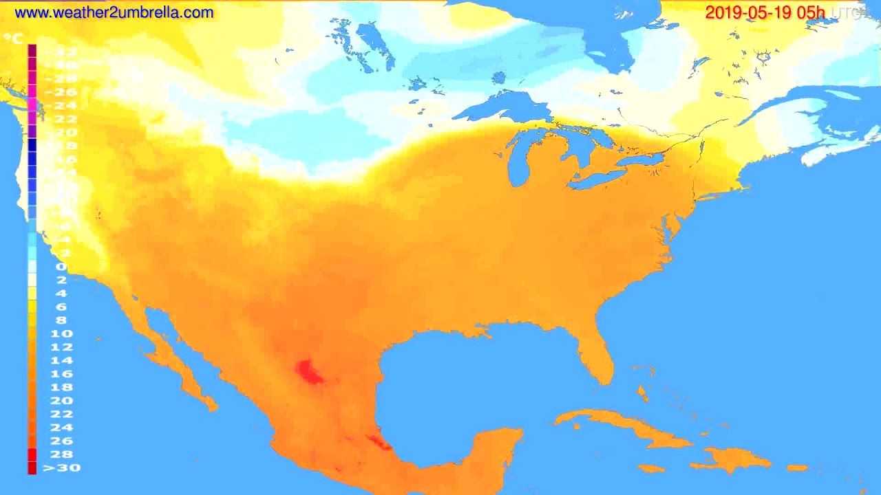 Temperature forecast USA & Canada // modelrun: 00h UTC 2019-05-17
