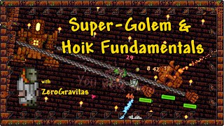 """Golem gets a speed upgrade! At 480tiles/s he could cross a small map in under 10 seconds! (If he didn't de-spawn.) As a test subject his size also makes him ideal for demonstrating the general features of the 'hoik' glitch, with sloped blocks. Full hoik guide, with more details and diagrams, on Terraria forum thread: http://forums.terraria.org/index.php?threads/hoik-guide-rapid-player-npc-etc-transport-using-only-sloped-tiles.1656/More on hoiks and advanced wiring on my channel: https://www.youtube.com/playlist?list=PL6o310lEzS9WYvBZsNVy2rLX8PPUkmUiKNote: the chamber didn't need to be perfectly squared, as solid blocks are mostly ignored when you travel by hoik!; only the row of tiles directly above an up tooth and the row directly below a down tooth (or 2 rows, for Golem) needs to be clear.+ Video Credits:- All footage shot in Terraria 1.2.4.1 for PC.- No mods or 3rd party content!- Game IP belongs to Re-Logic. - Music from Terraria Soundtrack Volumes 1 & 2 by Scott Lloyd Shelly (Resonance array): """"Lihzahrd"""", """"Golem"""", """"Jungle"""", """"Boss 2"""".- Credits music: theme from The Benny Hill TV Show - Series 5, Episode 3 [1983].- Video captured with Fraps, edited in trakAxPC."""