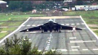 """Vulcan XH558 Arrives at Farnborough Airshow. """" Head-On Wheelie Style """"."""