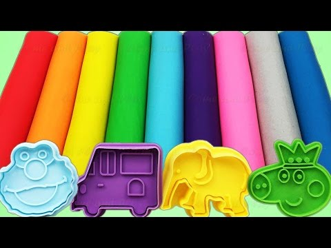 Learn Colors with Play Doh and ELMO Elephant and Bus Molds by Come and Play