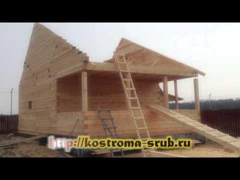 Компактный одноэтажный дом из бруса с террасой
