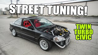 STREET TUNING the TWIN TURBO CIVIC!! by Evan Shanks