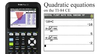 Typing in the quadratic formula on a TI-84 CE to calculate the solutions to a quadratic equaiton. This is just one of many ways to do this. it's not cheating. It's calculating.