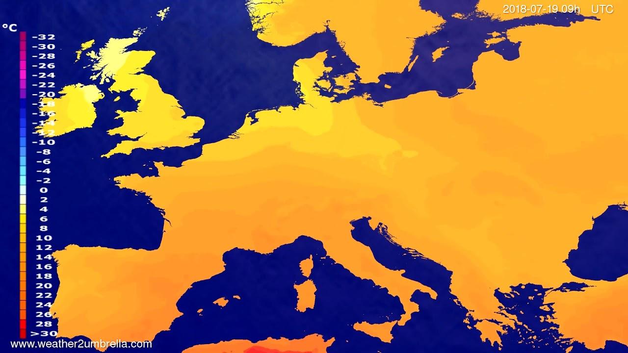 Temperature forecast Europe 2018-07-17