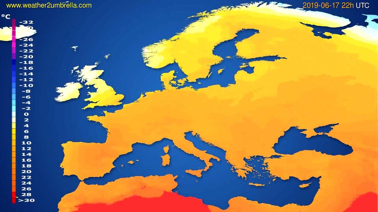 Temperature forecast Europe // modelrun: 00h UTC 2019-06-15
