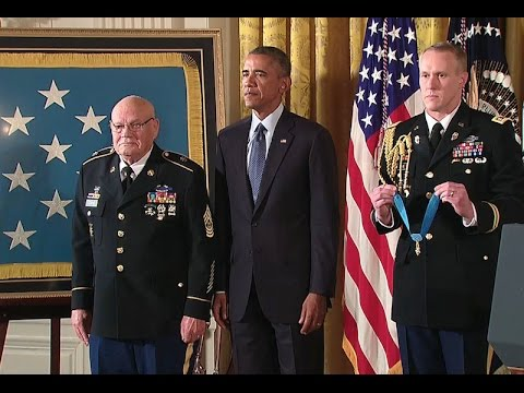 president - In a ceremony at the White House on September 15, 2014, President Obama presented the Medal of Honor to Command Sergeant Major Bennie G. Adkins and Specialist Four Donald Sloat.
