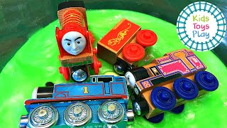 Thomas the Train Mystery Wheel Slime Jumping Competition
