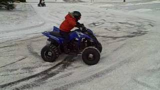 8. Yamaha Raptor 90, Donuts in the snow