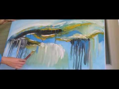 Abstaktes Bild malen. Speed painting.