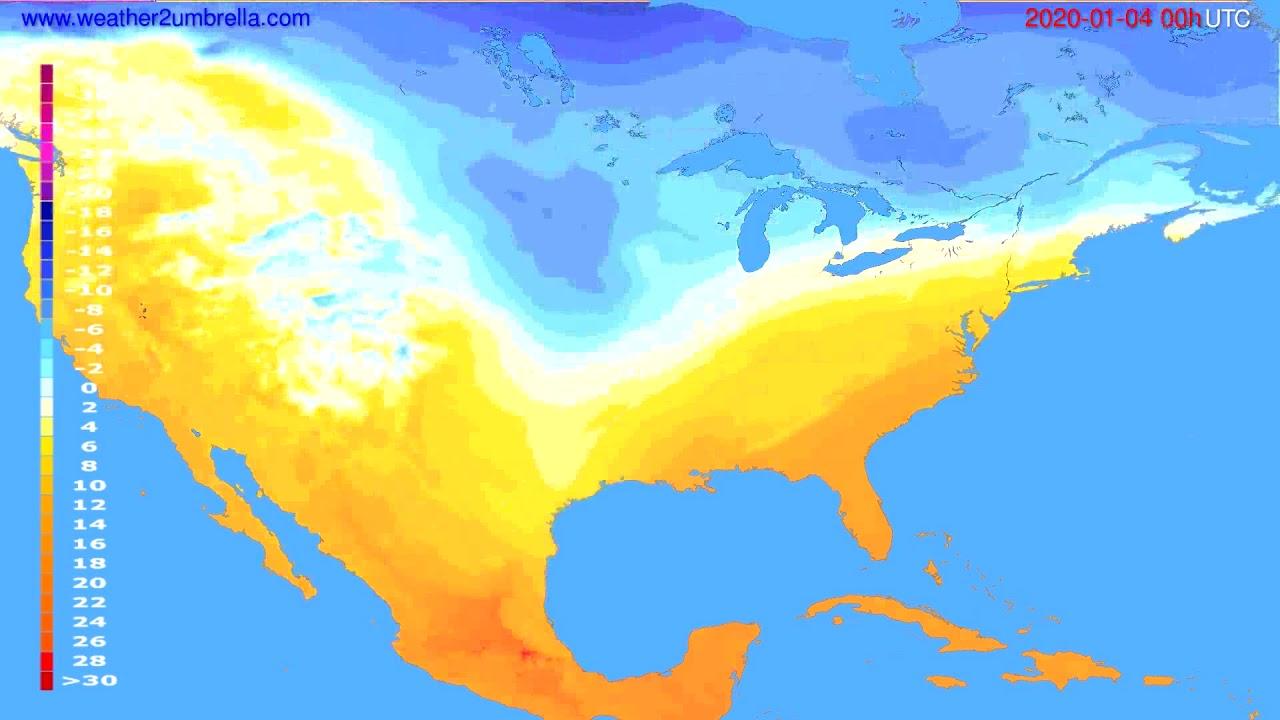 Temperature forecast USA & Canada // modelrun: 00h UTC 2020-01-03