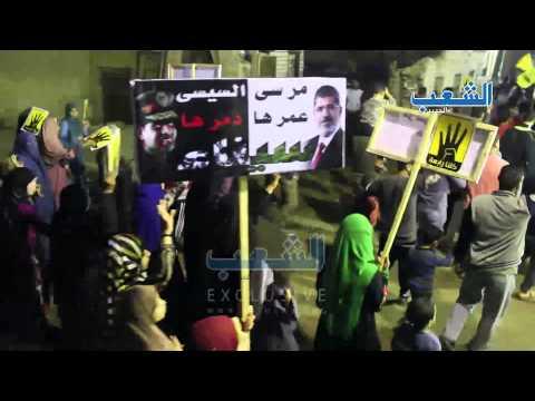 شاهد | مسيرة مناهضة للانقلاب تملئ شوارع بنى مجدول بالجيزة