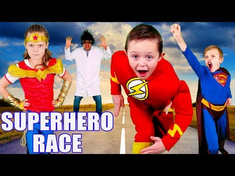 The Flash VS Wonder Woman VS Superman Race! Super Hero Team Up To Get Super Powers Back!