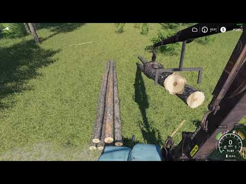 Farming Simulator 19 loading 12m logs with old beater logging truck