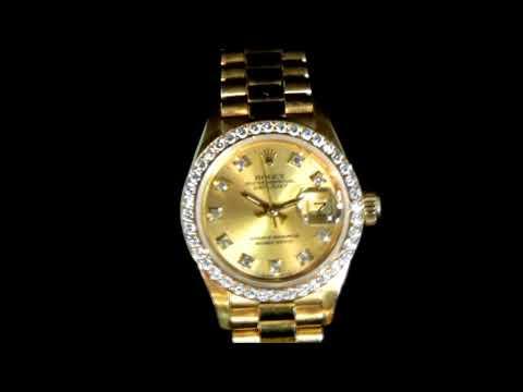 女裝18K黃金「勞力士」Datejust(日志型)鑲鑽自動腕表