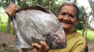 Black Pomfret Fish Recipe || Black Pomfret Fish Masala Curry by Grandmother || Myna Street Food