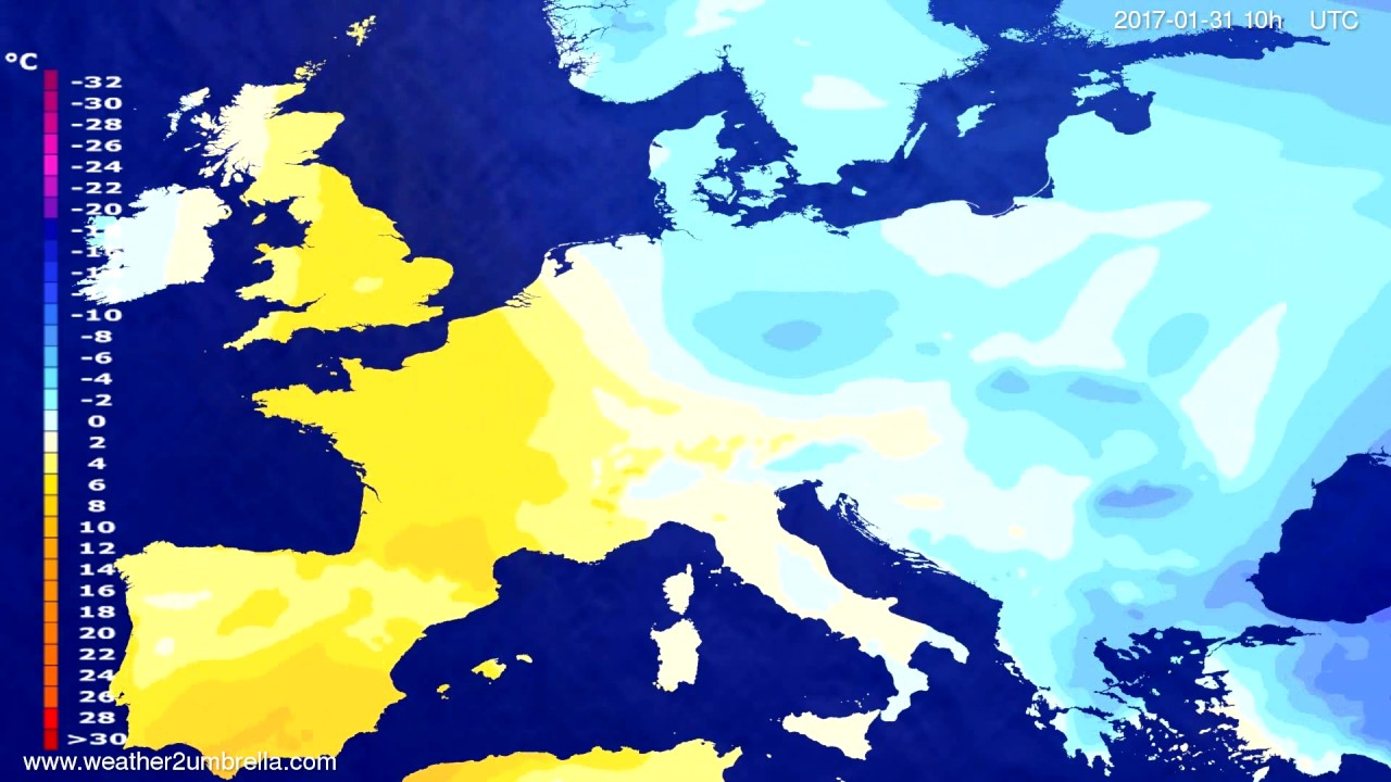 Temperature forecast Europe 2017-01-29