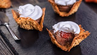 Oatmeal Lace Cookie Cups with Whipped Chocolate Ganache and Strawberry Jam