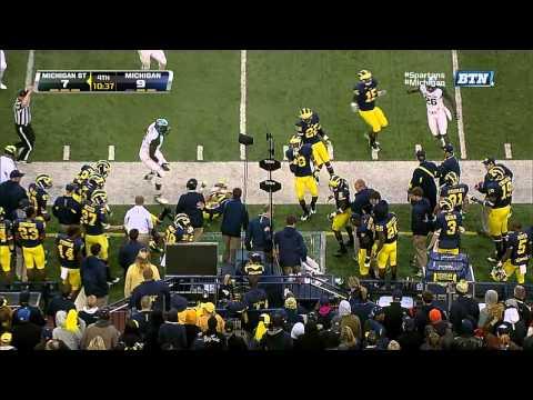Mike Sadler fake punt 26-yard rush vs Michigan 2013 video.