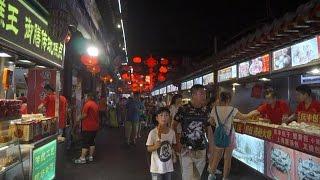 [Walking tour 漫步遊] Street food Wangfujing Beijing  北京 王府井小吃街 (可以吃的煤球)