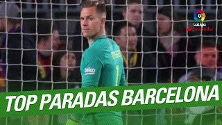 TOP 10 Saves FC Barcelona LaLiga Santander 2016/2017:10.- UD Las Palmas vs FC Barcelona, 37th Round9.- Deportivo Alaves vs FC Barcelona, 22th Round8.- Real Madrid vs FC Barcelona, 33th Round7.- Real Betis vs FC Barcelona, 20th Round6.- SD Eibar vs FC Barcelona, 19th Round5.- FC Barcelona vs CD Leganes, 23th Round4.- Real Madrid vs FC Barcelona, 33th Round3.- Atletico de Madrid vs FC Barcelona, 24th Round2.- RC Deportivo vs FC Barcelona, 27th Round1.- Real Madrid vs FC Barcelona, 33th RoundSubscribe to the Official Channel of LaLiga in High Definition http://goo.gl/Cp0tCLaLiga Santander on YouTube: http://goo.gl/Cp0tCLaCopa on YouTube: http://bit.ly/1P4ZriPLaLiga 123 on YouTube: http://bit.ly/1OvSXbiFacebook: https://www.facebook.com/lfpoficialTwitter: https://twitter.com/LaLigaInstagram: https://instagram.com/laligaGoogle+: http://goo.gl/46Py9