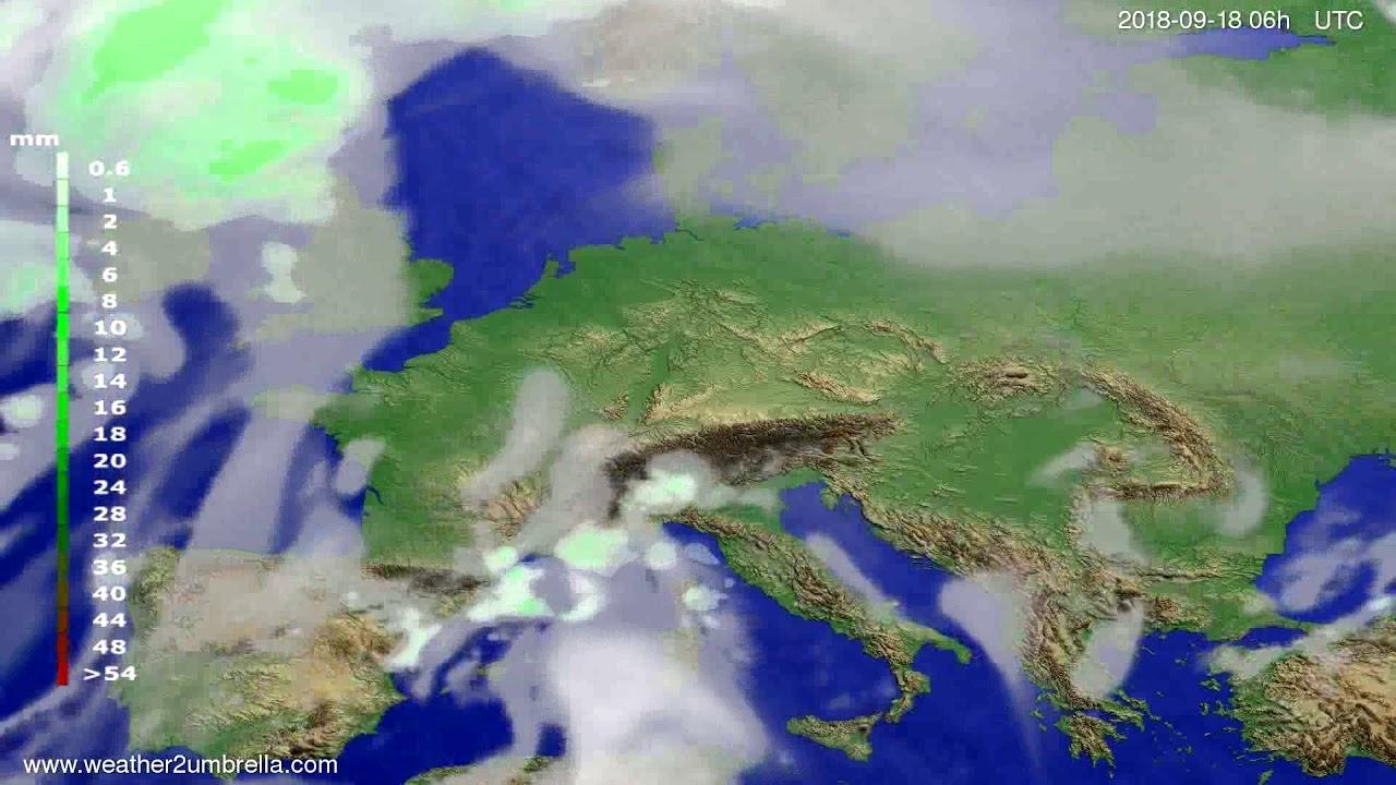 Precipitation forecast Europe 2018-09-15