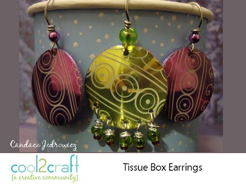 Earrings - In this video, Candace Jedrowicz shows how to punch circles from tissue boxes to create beautiful earrings. Featured on Cool2Craft TV. For more ideas, info a...