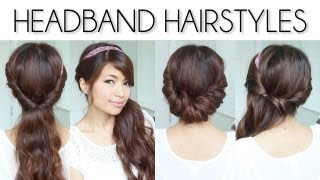 ♥ Easy Everyday Headband Hairstyles for Short and Long Hair Tutorial - YouTube