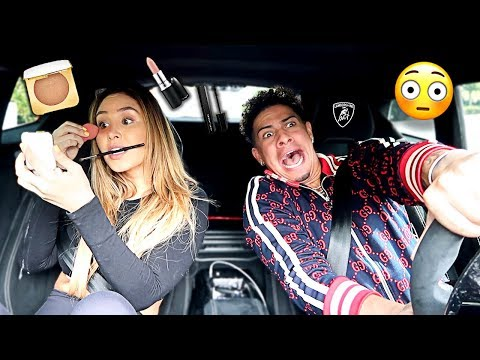 CATHERINE TRIES TO DO HER MAKEUP ROUTINE IN LAMBORGHINI!!! **BAD IDEA**