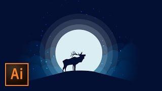 Animal Silhouette Moonlight Vector Illustration - Illustrator Tutorial