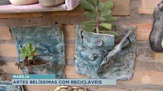 Artista plástica de Marília produz floreiras com material reciclável