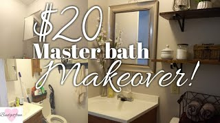 DIY $20 master bathroom makeover / Fixing up my old mobile home part 2  / Painting and decorating !