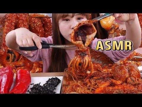 [Phụ đề tiếng việt] ASMR|Ăn hải sản om cay của Hàn Quốc, hải sản hấp cay - Thời lượng: 9:03.