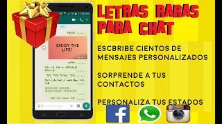 Letras raras para whatsapp, instagram, facebook, encuentra una aplicacion que nos permite hacer esto. Sin Trucos, muy facil. CON MUCHO CARIÑO PARA LOS SUSCRIPTORES les dejo esta herramienta que ha tenido semanas de mucho trabajo.🔻🔻🔻🔻🔻🔻🔻🔻🔻LINK AQUI🔻🔻🔻🔻🔻🔻🔻🔻🔻🌟🌟🌟🌟🌟DESCARGATE AHORA MISMO MI APLICACION FONTS - Letras para Whatsap: https://play.google.com/store/apps/details?id=com.logan20.fonts_letrasparawhatsapp🌟🌟🌟🌟🌟No olvides dejar 5 estrellas!!! GRACIAS😀😀😀😀😀En esta nueva actualizacion podrás crear imagenes con fuentes bonitas, tipo vintage o retro, elegir un fondo personalizado desde tu galería o un color en degradé para tus imagenes. Ademas hemos añadido muchas mas fuentes para decorar tus chats o tus nicks en Instagram, Facebook y otros💪¿QUIERES APOYAR EL CANAL Y GANARTE UN RECONOCIMIENTO EN MI PROXIMO VIDEO?https://www.paypal.me/elprofejorgeVIDEOS DESTACADOS:█ Ver TV Gratis en Android TODOS LOS METODOS POSIBLES https://www.youtube.com/playlist?list=PLN5_RTOYm0hPOQzvMSqHNNs9iqU9Hs2hO█ Noticias y Trucos para tu Android https://www.youtube.com/playlist?list=PLN5_RTOYm0hNqX1fK4cram7_FsJaQ5dNk█ Todo para ver CINE GRATIS en casa (Android y PC) https://www.youtube.com/playlist?list=PLN5_RTOYm0hMexavkLV4OsuoalrXmHuf2█ Ganar dinero con Mobidea https://www.youtube.com/watch?v=b-Av7Vr_vRo__No olvides que APRENDER ES GRATIS!!....SUSCRIBETESegundo CANAL XD Tops https://www.youtube.com/channel/UCBLuxYUzxXcFrqPkAs4vxtgBlog http://vitrinets.blogspot.com/Twitter https://twitter.com/elprofejorge10Facebook https://www.facebook.com/El-Profe-Jorge-680463462036088/timeline/DISCLAIMER  I do not own the anime, music, artwork or the lyrics. All rights reserved to their respective owners!!! This video is not meant to infringe any of the copyrights. This is for promote.Copyright Disclaimer Title 17, US Code (Sections 107-118 of the copyright law, Act 1976):All media in this video is used for purpose of review & commentary under terms of fair use. All footage, & images used belong to their respective companies.Fair use is a use permitted by copyright statute that might otherwise be infringing.