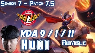 SKT T1 Huni RUMBLE vs KLED Top - Patch 7.5 KR Ranked