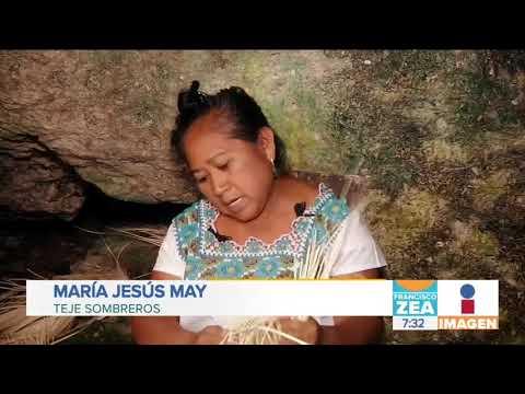 Mujeres mayas mantienen viva la elaboración de sombreros de jipijapa