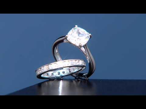 Diamonique 100-Facet Cushion Bridal Ring Set, Platinum Clad on QVC