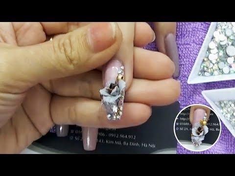 Mẫu nail ứng dụng salon Vol11: 2/3 Đắp hoa bột fantay cao cấp và trang trí đính đá lên móng tay