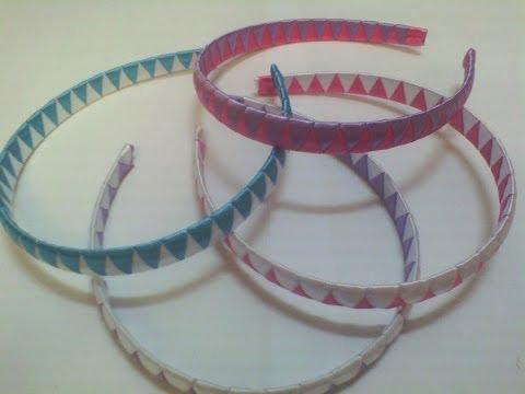 Diademas o Cintillos trenzado, decorado a 2 cintas (listón), Paso a paso, fácil y rápido
