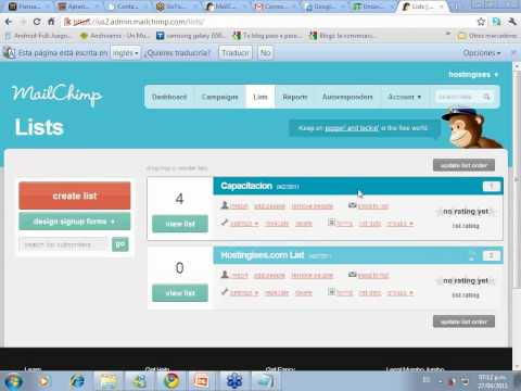 mailchimp - Visite http://piensaygana.com Reciba ms seminarios para su emprendimiento, vea todo el seminario taller de Mailchimp paso a paso y en espaol. Este es un Ta...