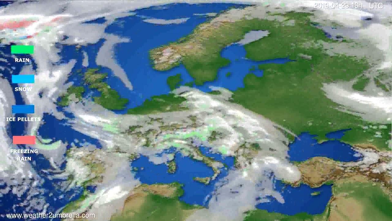 Precipitation forecast Europe // modelrun: 12h UTC 2019-04-21