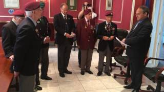 Peter Kent and Harry Bailey receive the Légion d'Honneur from the Mayor of Arromanches