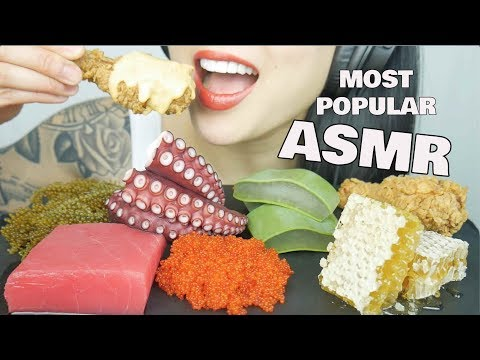 ASMR MOST POPULAR FOOD ON MY CHANNEL *Honeycomb Aloe Vera Seagrapes Octopus | NO TALKING | SAS-ASMR