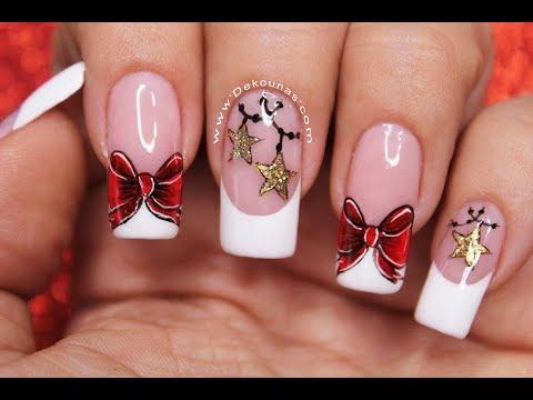 Diseños de uñas - Diseño de uñas Moño y estrellas Navideñas  Deko Uñas - Christmas Nail art