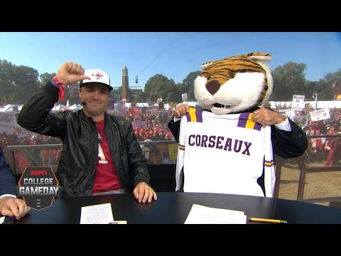 Lee Corso's headgear pick for LSU vs. Alabama with Justin Thomas | College GameDay