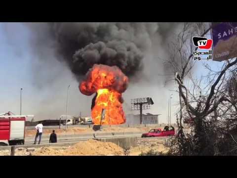 ارتفاع النيران بصورة كبيرة بسبب انفجار خط غاز «التجمع الخامس»